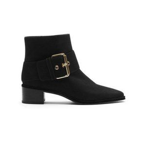 """Stuart Weitzman """"Buckler"""" Suede Ankle Boots with Pointed Toe & Large Gold Buckle"""